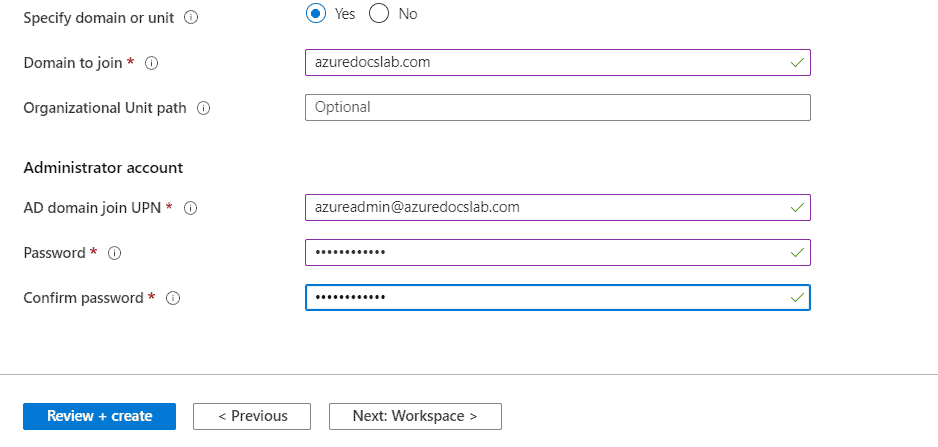 Azure WVD Specift domain or unit